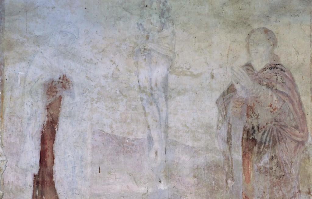 Pormenor de pintura mural do interior da Igreja de São João Batista de Gatão