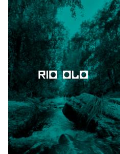 Rochas no caudal do Rio Olo e vegetação que o envolta