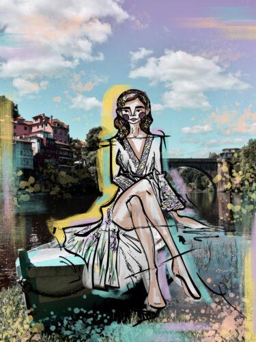 ilustração sobre foto de guiga na ponte